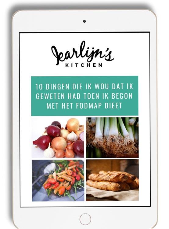ipad met plaatje van e-book 10 dingen die ik wist dat ik geweten had toen ik begon met het fodmap dieet